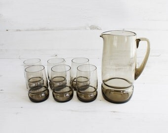 Vintage Grey Jug and Drinking Glasses - Pitcher Russian Large Serving Summer Beverage USSR Glassware Barware