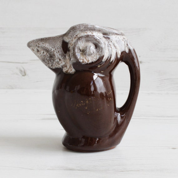 Vintage Bird Creamer - Milk Jug Brown Dip Glaze Niagara Falls Souvenir Tableware Pottery