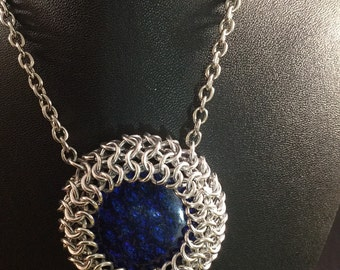 Chainmail Necklace, Chainmail Dragon Eye Pendant, Chainmaille Necklace, Blue Cabochon, European 4-1 Weave, glass pendant, Gift for her,