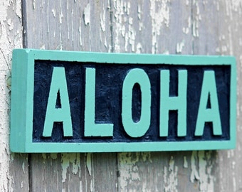 ALOHA wood sign hand carved Hawaiian home decor beach house wall art