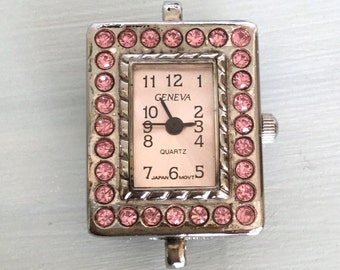 Silver and Pink Oblong Crystal Watch Face