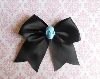 Pastel Goth black Hair bow  with blue skull sweet punk lolita