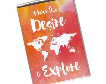 PASSPORT COVER - I Have This Desire to Explore Watercolor World Map, Vinyl Passport Holder, International Travel, Wanderlust