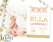 GOLD AND PINK Invitation, First Birthday Invitation, Confetti Invitation, Gold Glitter Invitation, Pink and Gold First