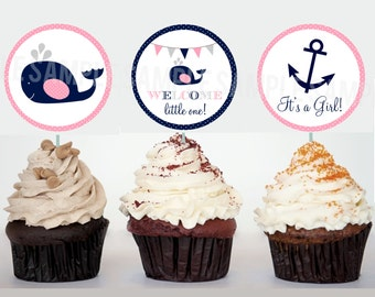Nautical Whale Baby Shower Decorations Cupcake Toppers Printable file Pink Insert It's a girl Anchor Instant Download