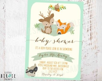 WOODLAND Baby Shower Invitation Mint Gender Neutral Invitation Fox Deer Raccoon Rustic Style Invitation Woodland Flowers Forest