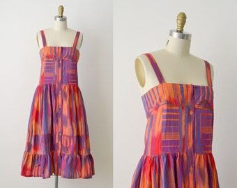 1970's Indian Cotton Dress / 70s Ikat Sundress