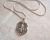 Sterling Shield Necklace Silver Letters Monogram Initials S B I Mexico Vintage AT0296