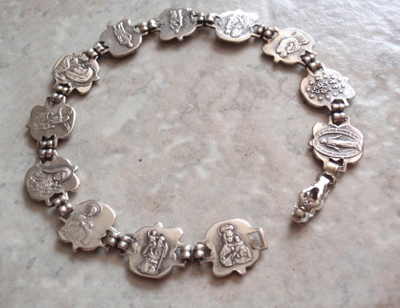 catholic saints bracelet sterling saints bracelet silver religious catholic 8536