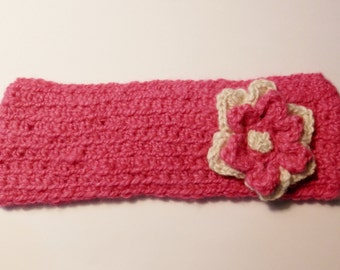 Alpaca Headband/Ear Warmer - Pink with a Pink & White Flower - Crocheted (#k248) Children's Size