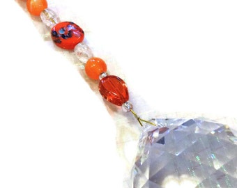 Feng Shui Crystal 40mm Sun Catcher Glass Beads Rainbow Ornament Orange Beads