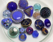 Assorted Vintage Small Glass Button Group, Blue, 10-18mm, 18pc