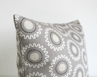 Throw Pillow Cover, Accent Pillow Cover, 20x20 Throw Pillow Cover, Pillow Sham, 20 Inch Pillowcase, Toss Pillow Cover - Cogs Taupe Grey