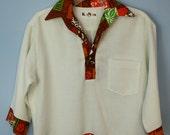 Vintage Mens Surfer Barkcloth Retro 60s Tiki Luau Kai Nani Hawaiian Shirt Small