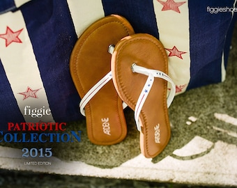 July 4th Sandals, Hand Painted Flip Flops by Figgie