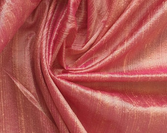 WHOLESALE OFFER 10% OFF - 6 Yards Peach Pink 100 Percent Pure Silk Dupioni Fabric