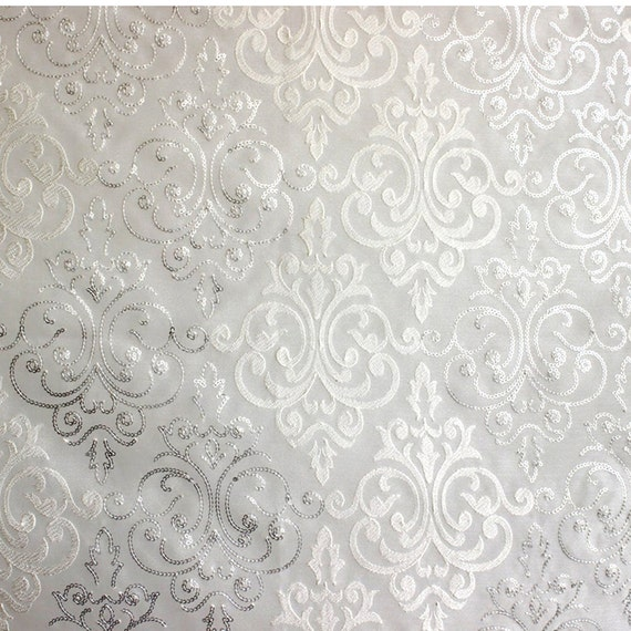 White & Silver Damask Embroidered Sheer Curtain Fabric By The