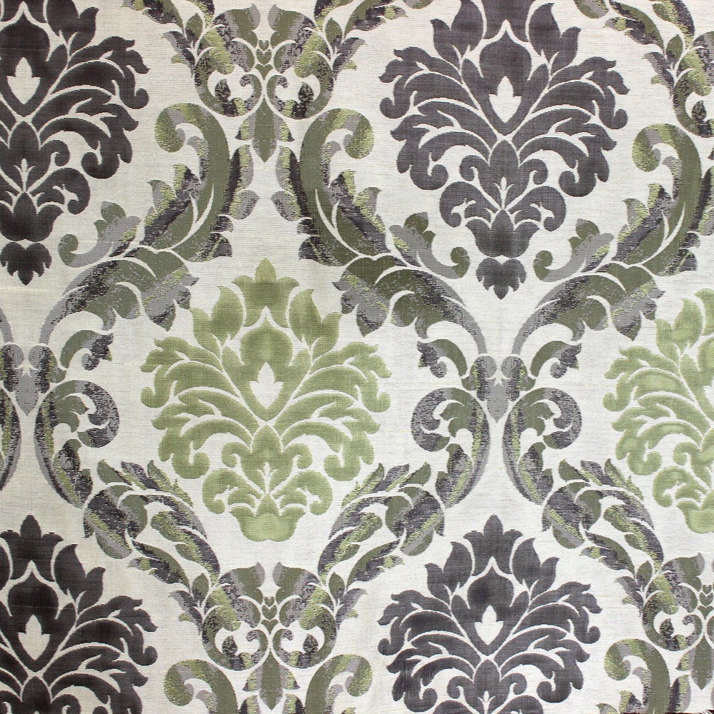 Green N Grey Damask Poly Jacquard Weave Fabric By The Yard Curtain ...