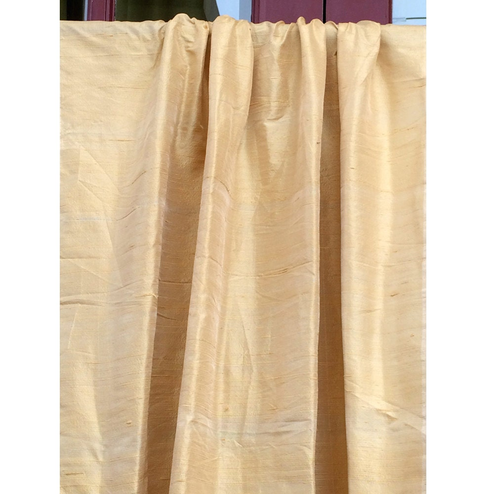 Light Gold 100 Percent Pure Silk Dupioni Grommet Blackout