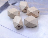 Wood Geometric Beads / Geometric Faceted Cube Wooden Beads / Natural Unfinished Unpainted beads