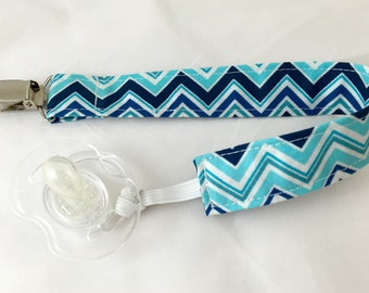 Pacifier Clip Paci Clip Holder Binky Holder - Blue Chevrons   - Ready to Ship