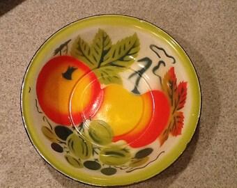 Large Enamelware, Graniteware Fruit Bowl, Colorful!