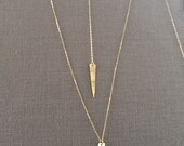 Gold necklace/Spike Necklace/Lariat Gold Necklace/ Gift for Her/ Gold Jewelry/ Dainty gold necklace