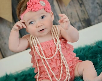 Coral Petti Romper Set - Lace Petti Romper and Headband Set - Baby Girl Toddler Photo Prop