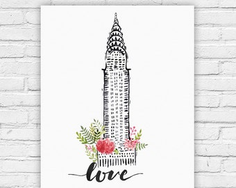 """Typography Poster Instant Download """"Love NYC"""" Montreal Print Wall Decor Inspirational Poster Quote"""