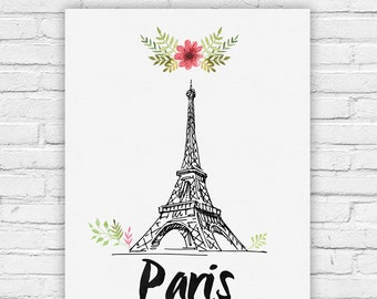 """Typography Poster Instant Download """"Paris Montreal Print Wall Decor Inspirational Poster Quote"""