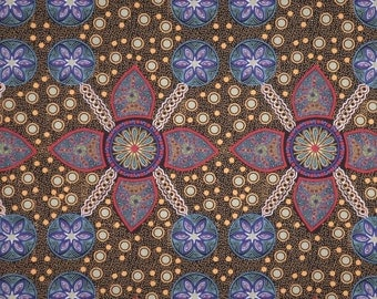 Stella Black with Brights Aboriginal Print Pure Cotton Fabric--One Yard