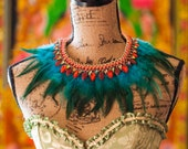 Turquoise Feathers and Red Collar