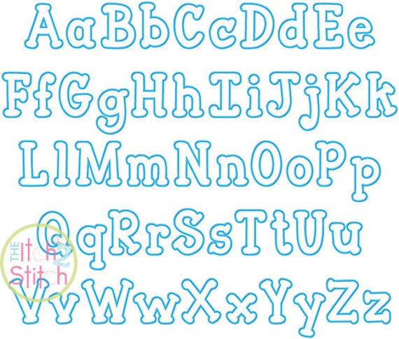 Close To Free Applique Font In Letters Sizes 3