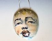 Lady Face Mask, Hand Painted Wall Hanging, Ceramic Sculpture with Hand Painted Face