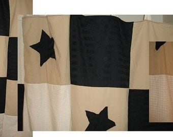 Black Tan Cream Star Handmade Bathroom Shower Curtain Primitive