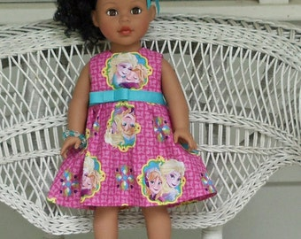 Cute Pink Princess Elsa and Anna Frozen Inspired Dress- Handmade to Fit 18 Inch Dolls Like American Girl and Madame Alexander Dolls