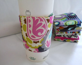 FREE SHIPPING - Eco-Friendly Coffee/Tea Sleeve/Java Jacket/Coffee Cozy - Bright Paisley