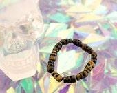 Dark Wood Skull Beaded Bracelet Sugar Skull Amulet Lucky Bracelet Dia De Los Muertos Bracelet Primitive Tribal Skull Bracelet Hand Carved