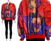 Vintage 80s red ART Print Pablo PICASSO BOMBER Jacket Cubism Coat Blazer Zip Up Red Blue Purple Nude Silk Medium Large Unisex