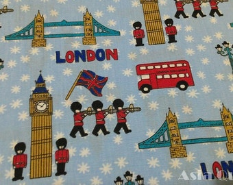 """England Big Ben,British solider,London Bridge,bus  - half yard - cotton - 2 colors to choose, Check out with code """"5YEAR"""" to save 20% off"""