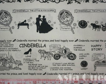 "Fairy tale Cotton fabric-Cinderella - 1 yard - 2 colors -Pumpkin carriage,love,Prince -Check out with code ""5YEAR"" to save 20% off"