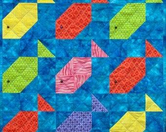 Fishy Nine-Patch Patchwork Quilt Block Pattern
