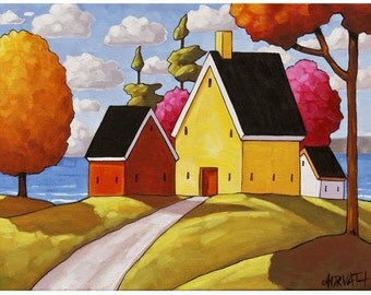 """Giclee Folk Art Print Landscape by Cathy Horvath 5""""x7"""" Sunny Colorful Summer Ocean Cottages Trees Seascape Archival Artwork Reproduction"""