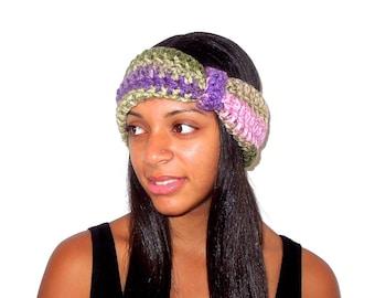 Crochet Turban Headband, Earwarmer, Women, Teen, Chunky, Ready To Ship, Multi Color