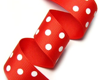 25mm(1'') Red / White polka dot Grosgrain Ribbon
