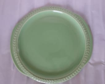 Large green LAURELLA plate with raised edge detail 11inches dia