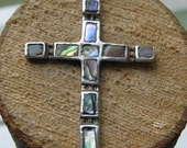 Vintage Sterling Silver Ladies Cross Pendant with Mother of Pearl Mexico Made Southwestern Women's Jewerly
