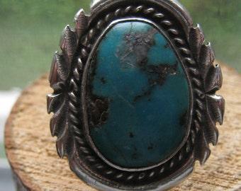 Vintage Old Pawn Silver Ladies Large Turquoise Ring Southwestern Navajo Design Size 7 1/2