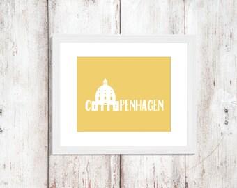 Custom Colors | Coppenhagen | Denmark | Europe | Nursery Art | Wall Art | Subway Art | Home Decor | 5x7 | 8x10 | 11x14 | 16x20