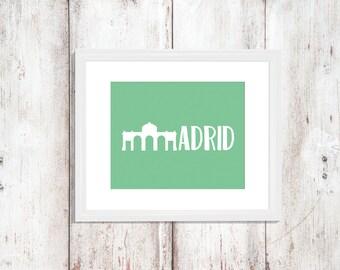 Custom Colors | Madrid | Spain | Europe | Nursery Art | Wall Art | Subway Art | Home Decor | 5x7 | 8x10 | 11x14 | 16x20